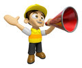 3D Construction Worker Man Mascot is speakn over a loudspeaker. Royalty Free Stock Photo