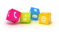 D contact us four contacting colorful symbols Stock Photo