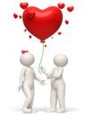 D couple releasing a red heart balloon valentines day rendered white big for wishes concept Royalty Free Stock Image