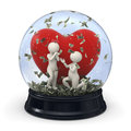 D couple in snow globe marriage money valentine rendered with white characters proposal with falling at valentines day Royalty Free Stock Photo