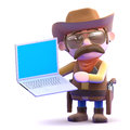 D cowboy online render of a with a laptop Stock Photos