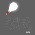 D creative pencil lightbulb as concept creative drawing idea Stock Image