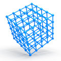 D cube and corner spheres computer generated Royalty Free Stock Photography