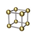 D cube gold ball and silver rod isolated metallic constructed from eight golden balls twelve rods Royalty Free Stock Images