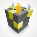 D cube and people abstract teamwork concept Stock Photo