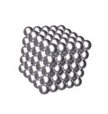 D cube with silver balls isolated floating metallic cubic shape constructed by beads reflective textures Stock Image