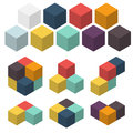 3D cubes. Set of colored spatial figures. Vector illustrations. Royalty Free Stock Photo