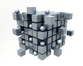 D cubes very beautiful metal mirrored Royalty Free Stock Photography