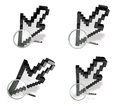 D cursor magnifier range four set Royalty Free Stock Photo