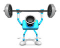 D cyan camera character a barbell shoulders press exercise cre create robot series Royalty Free Stock Photo