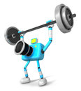 D cyan camera character a barbell shoulders press exercise cre create robot series Royalty Free Stock Image