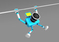D cyan camera character is doing a vigorous pullup create robot series Stock Image