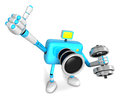 D cyan camera character a one dumbbell curl exercise create d robot series Royalty Free Stock Photography