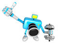 3D cyan Camera character a one Dumbbell curl Exercise. Create 3D Royalty Free Stock Photo