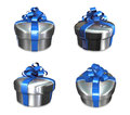 D decorated anniversary present blue ribbon Royalty Free Stock Photos