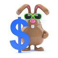 D dollar bunny render of a rabbit next to a us symbol Royalty Free Stock Image