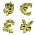 D dollar euro pound sterling yen yuan currencies symbol set white background illustration Royalty Free Stock Photos