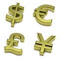 3D dollar, euro, pound sterling, yen, yuan currencies symbol set on white