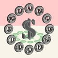 3d dollar sign and set of seals of american banks that print paper money Royalty Free Stock Photo