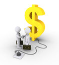 D dollar symbol is plugged in and businessmen shake hands Royalty Free Stock Image