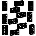 3D domino black set vector illustration on white background