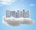 D dream city of tall buildings on a cloud Royalty Free Stock Photo