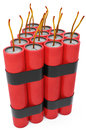D dynamite pack with fuse on white background Stock Photography