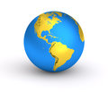3D Earth golden blue planet Royalty Free Stock Photo