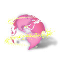 D earth with sparkles a pink yellow circling it Royalty Free Stock Photo