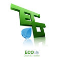 D eco logotype modern green logo with water drops Royalty Free Stock Image