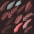 3D Embossed Painted surface background. Autumn leaves embossed on gradient background.