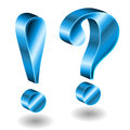 D exclamation and question mark blue on white Stock Photos