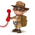 D explorer answers the phone render of an character and red telephone Stock Images