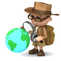 D explorer world render of an studying the globe with a magnifying glass Royalty Free Stock Photography