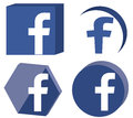 D facebook logo set a with various representations of useful for social media projects Royalty Free Stock Image