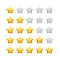3D five stars rating icon set.
