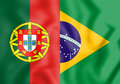 3D Flag of Brazil and Portugal. Royalty Free Stock Photo