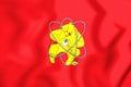 3D Flag of Zheleznogorsk & x28;Krasnoyarsk krai& x29;, Russia.