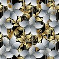 3d flowers vector seamless pattern. Black striped floral background wallpaper with vintage white 3d flowers, gold