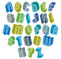 D font with good style simple shaped bold letters alphabet made round shapes great for design advertising web and Royalty Free Stock Photography