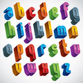 D font vector colorful letters geometric dimensional alphabet best for use in advertising and web design Stock Photos
