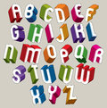 3d font, vector colorful letters, geometric dimensional alphabet