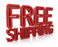 3D Free Shipping text on white background Royalty Free Stock Photo