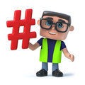 3d Funny cartoon health and safety official holding a hash tag symbol Royalty Free Stock Photo