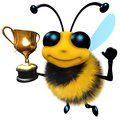 3d Funny cartoon honey bee character holding a gold cup trophy Royalty Free Stock Photo