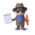 3d Funny cartoon old man character takes notes with pad and pencil