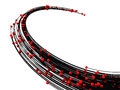 3d futuristic red spheres and black line design Royalty Free Stock Photo