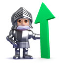 D gallant knight is optimistic render of a in armour with upward pointing arrow Royalty Free Stock Photos