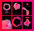 Abstract vector backgrounds set with liquid fluid form. 3d geometric shapes vibrant color gradient. Poster collection
