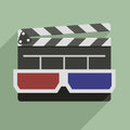 D glasses and clapper board minimalistic illustration of a with on top symbol for film video Stock Photography